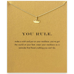 Wholesale slide rules resale online - Chain Choker Necklaces With Card Gold Silver Crown Pendant Necklace For Fashion Women Jewelry YOU RULE