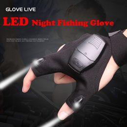 Ingrosso Guanti da pesca con luce LED traspirante resistente durevole cinghia magica Torcia senza dita torcia Guanti Guanti Strumenti di salvataggio Attrezzi da esterno