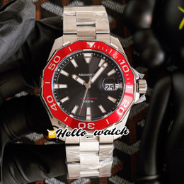 Wholesale quality swiss resale online - High Quality New mm Black Dial Swiss Quartz Mens Watch Red Ceramics Bezel Stainless Steel Bracelet Gents Watch THTG Hello_watch Color