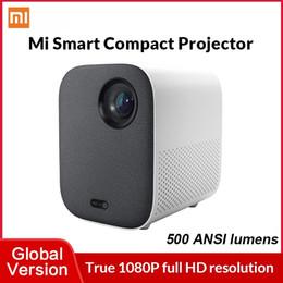 Toptan satış Global Sürüm Xiaomi Mi Kompakt Lazer Projektör 1080 P Taşınabilir Akıllı Ev Sinema DLP 500 ANSI Destek 4K Video Android TV 9.0