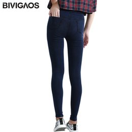 fashion jeans leggings jeggings Canada - BIVIGAOS Women Jeans Leggings Casual Fashion Skinny Slim Washed Jeggings Thin High Elastic Denim Legging Pencil Pants For Women Q1119