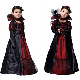 Discount vampire queen dress CIBO Children Girls Kids Vampire Halloween Queen Party Lace Dress Cosplay Costumes Performance Carnival Masquerade Clothes1