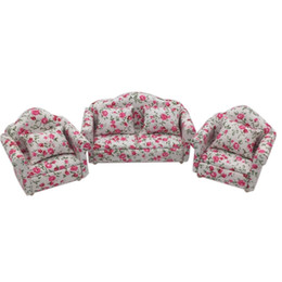 living room furniture sofa sets UK - 3pcs 1:12 Dollhouse Miniature Living Room Dolls Furniture Sofa Set Children's Toy Couch Model Floral Style Kids Pretend Play Toy Y200428