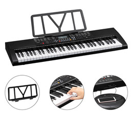 Glarry GEP-106 61 Key Portable Piano with Speakers Headphone Microphone Music Rest LCD Screen USB 3 Teaching Modes Black US Stock