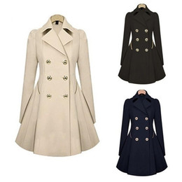 Wholesale double breasted plus size coat resale online - Women New Trench Coat Autumn Double breasted Warm Windbreaker Causal Long Female Trench Coat Female Plus Size