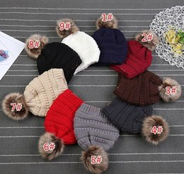 fur hats for kids NZ - Kids Adults Thick Warm Winter Hat For Women Soft Stretch Cable Knitted Pom Poms Beanies Hats Women's Skullies Beanies Girl Ski Cap OOE