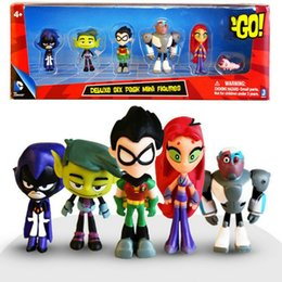 robin figure NZ - Teening Titans GO Anime Action Figures Toys Robin Cyborg Beast Boy Raven PVC Cartoon Model Birthday Gifts juguetes for Children 201202
