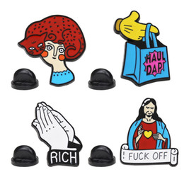Wholesale make badges for sale - Group buy Cartoon Spoof Jesus Christianity Brooch Pins Funny Zinc Alloy Make a rich wish gesture Brooches for Girls Xmas Gift Badges Bag Pin