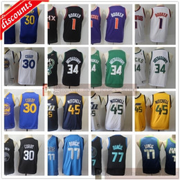 curry basketball shirt 2021 - Youth Kids Men Basketball 1 Devin 30 Stephen Booker Curry Jerseys Cheap Boys 34 Giannis 77 Luka Antetokounmpo Doncic 45