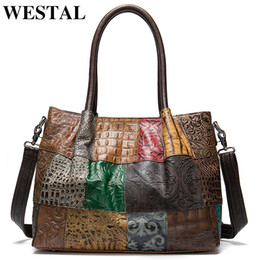 Wholesale WESTAL 100% Women's Briefcases Genuine Leather Laptop Bag Female Embossing Women Office Bags Business Bag Briefcase Handbags