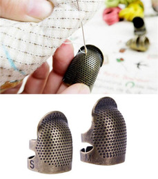 Antique Gold Metal Protective Punch Needle Sewing Knitting Accessories Needlework Finger Tip Stitching Hoop Thimble Ring on Sale