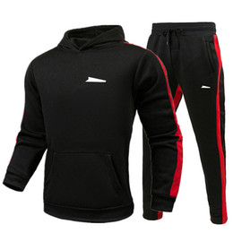 Wholesale black mens suit for sale - Group buy sweatsuit Designer Tracksuit Hoodie Sweatshirts Black White Autumn Winter Jogger Sporting Suit Mens Sweat Tracksuits Set Plus Size M XL