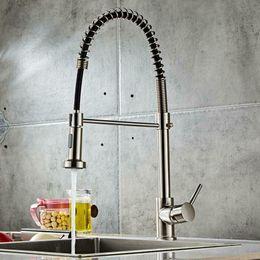 Wholesale Brushed Finish Nylon Kitchen Sink Faucet Pull Down Sprayer Single Hole Bar Mixer