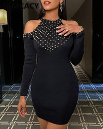 Wholesale cold shoulder dresses for sale - Group buy Women Long Sleeve Cold Shoulder Studded Bodycon Mini Dress