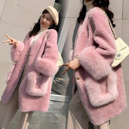 Wholesale shearing coats for sale - Group buy Winter Sheep Sheared Fur Coat Women Thick Warm Faux Fur Jacket Coat Womens Long Slim Sheep Sheared Parka Pink Coats