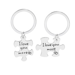 Wholesale Valentine Gift Novelty Keyring Zinc Alloy I Love You Most More Couple Personalize Key Lovers Keychain Holders