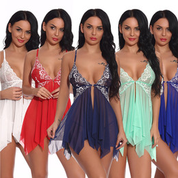 Wholesale porn sexy dresses resale online - Sexy Lingerie For Women Erotic Pajamas Suit Lace Babydoll Dress For Sex Porno Porn Spicy Nightwear Sex Tools Underwear Erotic Q1125