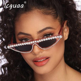 womens black cat eye sunglasses 2020 - Luxury Sunglasses Diamond Cat Eye Sunglasses Womens Gafas De Sol Mujer UV400 Resin Plastic Adult cheap womens black cat
