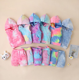 Wholesale sleeveless hoodies sweatshirts resale online - Baby Boy Girl Sleeveless Hoodie Shorts Clothing Set Summer Boutique Outfit Clothe Kid Tie Dye Hooded Sweatshirt Pants Clothes