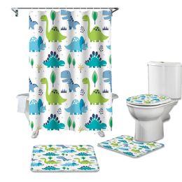 Cartoon Dinosaur World Door Bath Mat Bathroom Toilet Cover Rugs Shower Curtain