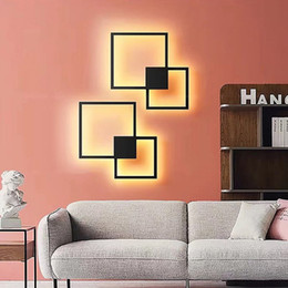 Square Wall Lamp LED Nordic Design Bedroom Living Room Wall Decoration Light Background DIY Simple Lighting Fixtures