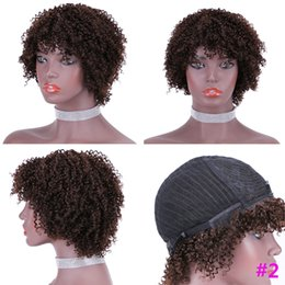 chinese bangs remy hair 2021 - Darkest Brown Human Hair Short Wigs Afro Kinky Curly Malaysian Remy Glueless Non Lace Wig With Bangs For Black Women #2 Pixie Cut Curly Wig