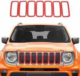 Опт ABS передняя сетка решетка решетки Grill Cover Trim для Jeep Renegade 2019-2020 Red Auto Autowords Accessories