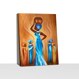 African Women Painting Picture Home Decor Nordic Canvas Painting Wall Art Hand Posters and Print for Living Room