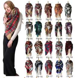 Wholesale 44 Colors Women Plaid Scarves Grid Tassel Wrap Oversized Check Shawl Winter Neckerchief Lattice Triangle Blanket Scarf sea Shipping