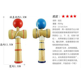 traditional japanese wooden toys UK - wooden ball traditional DHL toys kendama NEW Japanese crack jade sword ball kendama13.5*5.5cm E407