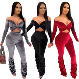 Wholesale ladies one piece pants resale online - Women Jumpsuit Designer Fashion Velvet Long Sleeve Hollow Out Pleated Micro stacked Pants Ladies sweatsuits Casual One Piece Rompers