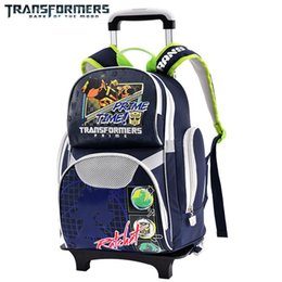 Discount backpack for wheel Transformers School Boys Trolley Backpack Kids Wheeled Travel Bags with Rainproof Cover Its Lighten the Load for Childre