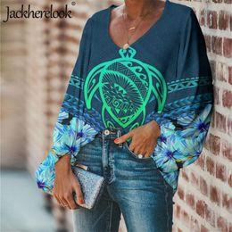 Wholesale plus size chiffon sleeve blouse design online – Jackherelook Woman Blouse Spring Long Sleeve Shirt Hawaiian Turtle Polynesian Brand Design V Collar Clothes Plus Size Women Tops