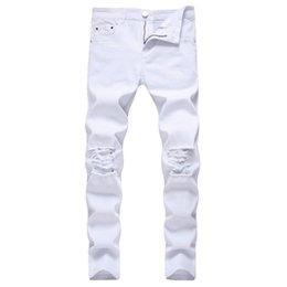 Jeans Rotos Blancos Para Hombres Oferta Online Dhgate Com