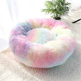 Pet Dog Bed Warm Fleece Round Dog Kennel House Long Plush Winter Pets Dog Beds Dogs Cats Soft Sofa Cushion Mats Free Shipping on Sale