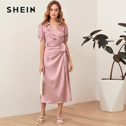 Wholesale shein dresses for sale - Group buy SHEIN Pink Puff Sleeve Belted Satin Wrap Dress Women Summer V neck Shirt Collar High Waist Solid Elegant Long Dresses1