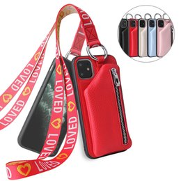 Wholesale case for iphon resale online - new wallet mobile phone leather case with hanging rope for iphone mini iphon pro max xr xs max samsung s20 note20 huawei p40 pro