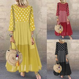 long kaftan dresses robe Canada - Women Polka Dot Long Sundress Autumn ZANZEA Vintage Pacthwork Dress 2020 Casual Cotton Shirt Vestidos Femme Tunic Robe Kaftan X1224