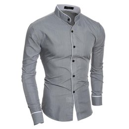 Wholesale china mandarin resale online - China style Mandarin collar men s shirts casual young man tops fashion boys Slim fit M XL clothes low price