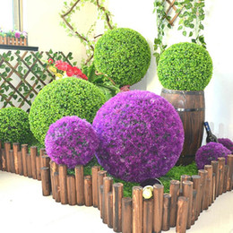 plastic green grass balls Australia - 1pc Green Artificial Plant Ball Topiary Tree Wedding Party Home Outdoor Decoration Plants Plastic Grass Ball Artificial Flower