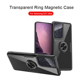 Discount customized finger rings Acrylic Transparent Phone Case For Samsung S20 S21 Ultra for iPhone 12 11 Pro MAX XS XR XS MAX With Finger Ring Stand