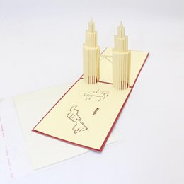 Wholesale twin towers for sale – custom 3d Laser Cut Handmade Landmark Architecture Malaysia Twin Tower Paper Greeting Cards Postcard Business Festival Gift Souvenir wmtdeo