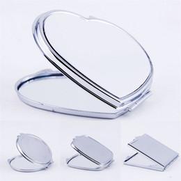 venda por atacado DIY maquiagem espelhos ferro 2 face sublimação em branco chapeado folha de alumínio menina presente cosmético espelho compacto decoração portátil 3 2x m2