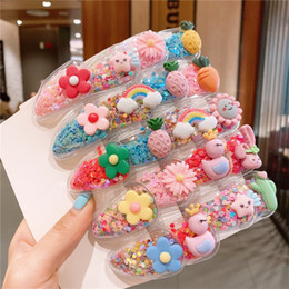 Wholesale Colour Quicksand Hairpin BB Transparent Fruits Resin Lovely Flowers Cute Hair Side BB Clips Cactus Rabbit Barrettes Chlidren Fashion 3nm M2