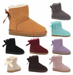 2021 fashion Children's Shoes Australia WGG Womens in Real Leather Girls Snow Boots with Bows Kids Winter Boots Casual Shoes w6ZQ#