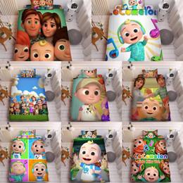 Toptan satış Cocomelon Ji 3D Baskılı Çarşaf Üç Adet Setleri Yastık Kılıfı + Çarşaf + Yorgan Kapak Yatakları Güzel Çocuklar Cocomelon Malzemeleri LY118A