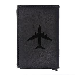 vintage wallets purse NZ - Classic Black Aircraft Design Rfid Card Holder Men Wallets Brown Vintage Short Purse Leather Slim Wallets Small Wallet