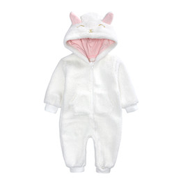 animal onesie baby clothes Canada - New style autumn winter baby onesie high quality plush jumpsuits warm and thick clothing for children