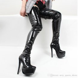 Discount boots 15cm heels Women Thigh High Boots Sexy Super High Thin Heel Platform Boots Pointed Toes Zipper Over-the-Knee High Man Dance Shoes B
