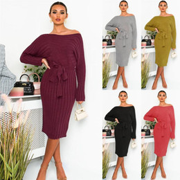 Wholesale womens sweater dresses resale online - 2021 Autumn And Winter Womens New Knitted Sweater Dress Mid length Pullover Sweater Dress With Laces S XL